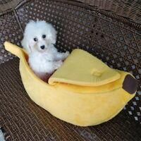 Pet Cat Dog Puppy Warm Nest Bed Banana Shape Fluffy Cave House Sleeping Bag US