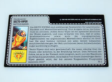 1988 GI JOE SECTO-VIPER v1 COBRA BUGG DRIVER UNCUT FILE CARD FILECARD DE GERMAN