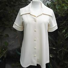 Blouse by Spinney Polyester Cream 1970s Vintage