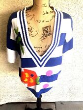 COUNTERPARTS Ladies Stripped White/Blue Multi Sweater Size L