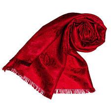 89059 LORENZO CANA - Seide Damenschal Tuch Damast Paisley Jacquard Rot Neu