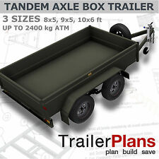 Trailer Plans- TANDEM AXLE BOX TRAILER PLANS-3 sizes included- PRINTED HARDCOPY