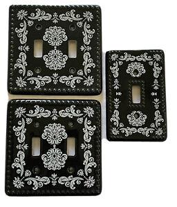 Filigree Print Hobnail Texture Ceramic Light Switch Plates/Covers (Set of 3) NEW