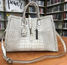 CLAUDIA FIRENZE Leather Croc Embossed Tote Bag Purse Crossbody White Italy
