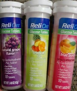 3x Assorted ReliOn Glucose On-The-Go Tubes, 10 Tablets ea 4g Carbs per Tablet