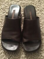 Nine West Women's Brown Leather Wedge Heels Slides Sandal Shoes, Size 6.5M