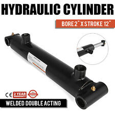 """Hydraulic Cylinder Welded Double Acting 2"""" Bore 12"""" Stroke Cross Tube 2x12"""