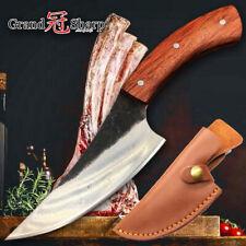 Handmade Butcher Knife Wood Handle Camping Outdoor Boning Ribs Cut Sleeve Sheath