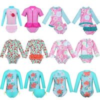 Little Baby Girls Long Sleeve Sunsuit UPF Rash Guard Swimsuit Swimwear Beachwear