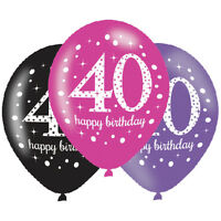 6 x 40th Birthday Balloons Black Pink Lilac Party Decorations Age 40 Balloons