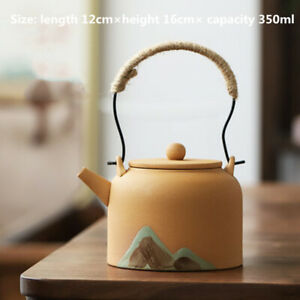 Vintage Pottery Teapot With Metal Handle / Candle Heating & Keep Warm Stove