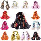 New Women Girls Chiffon Silk Flowers Long Soft Neck Scarf Shawl Wrap Scarves lot