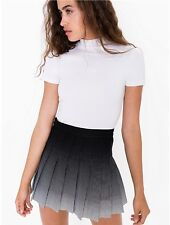 American Apparel Black Blue Navy White Ombre Gradient Pleated Tennis Skirt XS,S