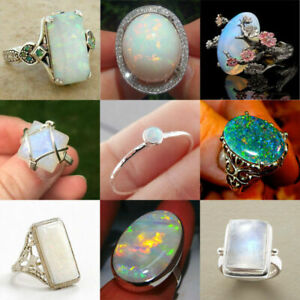 Gorgeous  Women 925 Silver Jewelry Wedding Engagement Opal Ring Size 6-10