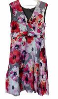 Alexon Womens Grey Multicoloured Floral Sleeveless Long Lined Maxi Dress Size 16