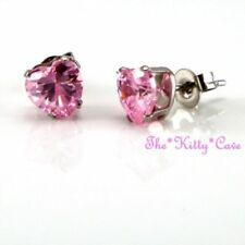 Pendientes de bisutería rosas de acero inoxidable de cristal