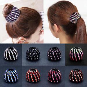 Bird Nest Ball Hair Clip Claw Crystal Rhinestone Clamps Buckle Ponytail Holder