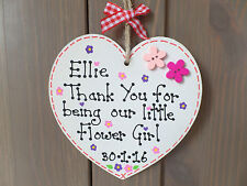 Personalised Thank You Flower Girl Bridesmaid Wedding Gift Sign Plaque Heart