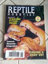 REPTILE HOBBYIST MAGAZINE SEPTEMBER 1997 BURMESE PYTHON PRIMER
