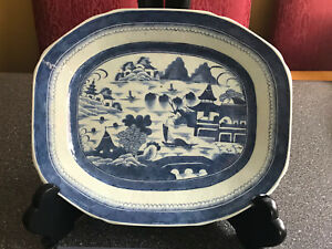 """Rare Antique Chinese  Export Canton B&W Porcelain Large Plater/16"""" L 13"""" W 1.9""""H"""