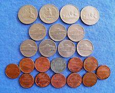 Monedas Usa-cuartos, 5 centavos, 1 centavos - 1943-2003 - 23 monedas