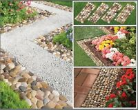Stone Pebble Garden Path Mats Outdoor Pathway 4 Count, For Trail Flowerbed Walk
