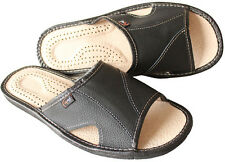 Men's Black Open Toe Slip on Leather Slippers Shoes Size UK 9 Hard Sole Mules