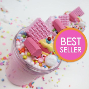 Strawberry Pink Birthday Cake Slime & charm (Scented)  4, 6 & 8 oz - Made in USA