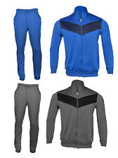 Mens Grey and Blue Full Tracksuits Set Training Bottoms and Top Joggers S M L XL