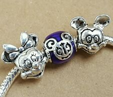 Disney Minnie Mickey Mouse Head Purple Filigree Magical Day European Charm Beads