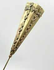 Antique Hatpin Four-sided Golden Lady. Extra Long & Lovely. Chic Collectible