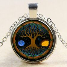 Vintage Tree of Life Cabochon Tibetan silver Glass Chain Pendant Necklace #130