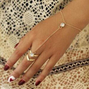 New Sexy Gold Chain Crystal Charm Bracelet Finger Ring Hand Harness UK