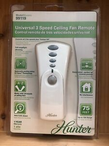 Hunter 99119 Universal 3 Speed Ceiling Fan Remote with Receiver New!! Sealed