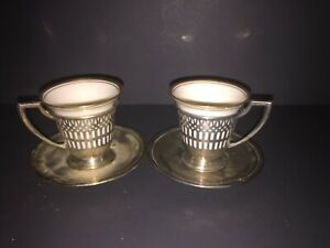 Set of 2 Sterling Silver Demitasse Cup Holders and Saucers with Lenox Cups 1986