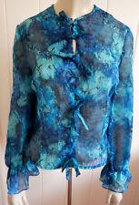 Susan Parsons gorgeous 1960s vintage blue print bow-front blouse size 10 (W)