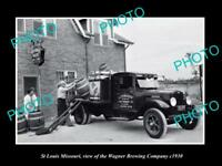 OLD LARGE HISTORIC PHOTO OF ST LOUIS MISSOURI THE WAGNER BREWERY TRUCK c1930 1