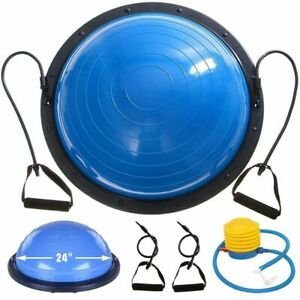 Balance Trainer Ball 23 Inch Yoga Blue Fitness Strength Resistance Bands Pump