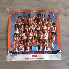 Vintage 1984 NFL Chicago Honey Bears Cheerleaders Budweiser Beer Schedule Poster