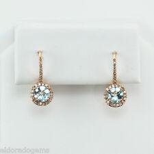 1.50 ct. Topazio Blu & 0.50 ct. AUREOLA design diamante Orecchini pendenti 14K