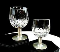 "ATLANTIS CRYSTAL SILVER STEM VERTICAL CUT 2 PIECE 3 1/4"" CORDIAL GLASSES"