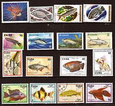 TOUS PAYS 16 timbres neufs sur poissons d'aquarium et mers 28m190a