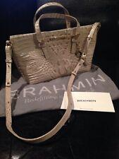 Brahmin Mini Asher Handbag Shoulder Bag Crossbody In Linen Pearly White