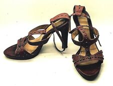 VIA SPIGA Handmade Brown Leather Studed Wood Stacked Heels Sandals 5.5 M Italy