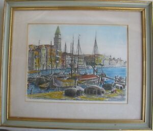 """BELA SZIKLAY HUNGARIAN FRAMED ETCHING """"FISHING BOATS VENICE ITALY"""" C 1935"""