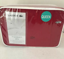 Lacoste Brushed Twill Cotton Queen Sheet Set Chili Pepper Red NIB