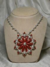 RED Silver Flower LONG Bead FASHION Jewelry NECKLACE Vintage ANTIQUE Women