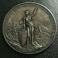 1892 SWITZERLAND GLARUS SILVER SHOOTING MEDAL MINT STATE BEAUTY