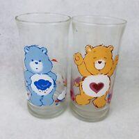 Vintage Care Bears Pizza Hut 1983 Grumpy Tenderheart Bear Cartoon Drink Glasses