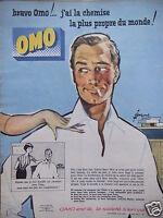 PUBLICITÉ DE PRESSE 1959 LESSIVE OMO J'AI LA CHEMISE - DESSIN COURONNE